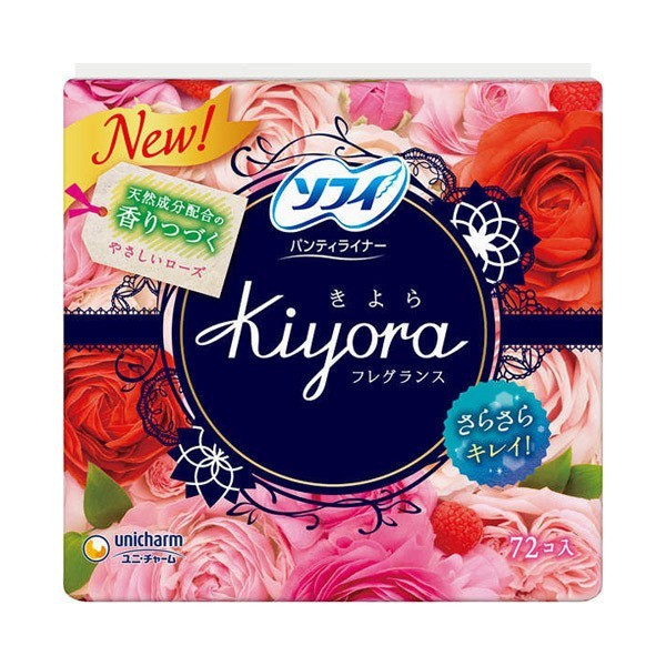 ソフィKiyoraフレグランス パンティライナー 72枚 やさしいローズの香りの1枚目の写真