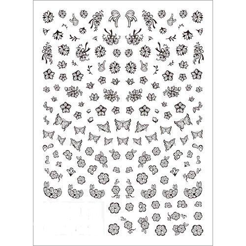 フラワーネイルシール ネイルシール ツメキラ TSUMEKIRA 切り絵 フラワー&バタフライ ブラック NN−KRE−202の1枚目の写真