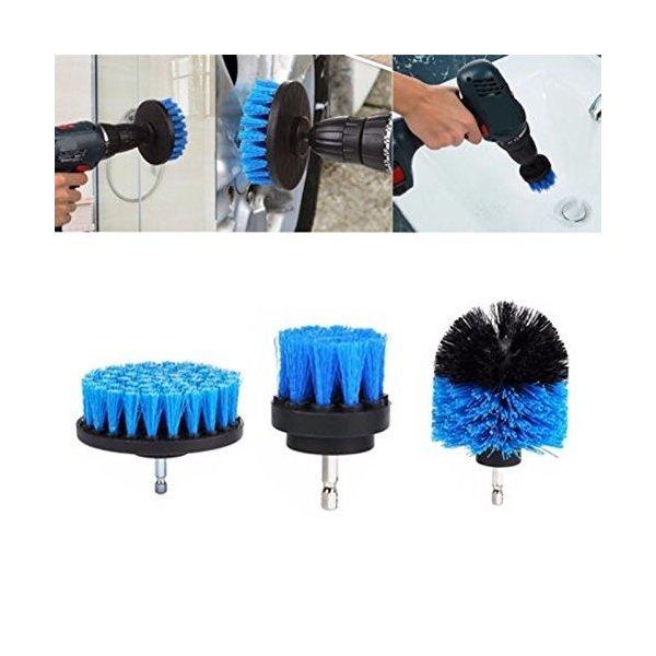 Fashionwu 電動掃除用ブラシ クリーニングブラシ 電気ドリル用 キッチン バスルーム 洗車用 3種類ブラシ 六角軸電動ドリルに適応の1枚目の写真