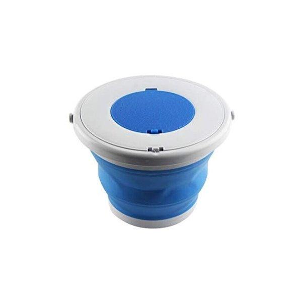 折りたたみバケツ旅行ポータブルソフトシリコン釣りバケツ屋外収納バケツ厚い洗車バケツ伸縮釣りバケツ、青5リットル (Color : Blue,の1枚目の写真